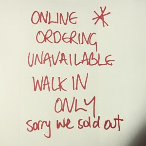 NO ORDERING ONLINE - SOLD OUT